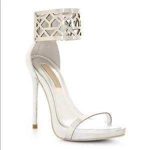 BCBGMaxAzria Silver Estie High Heel Sandal
